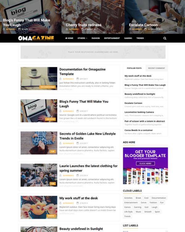 Omagazine Premium Blogger Template