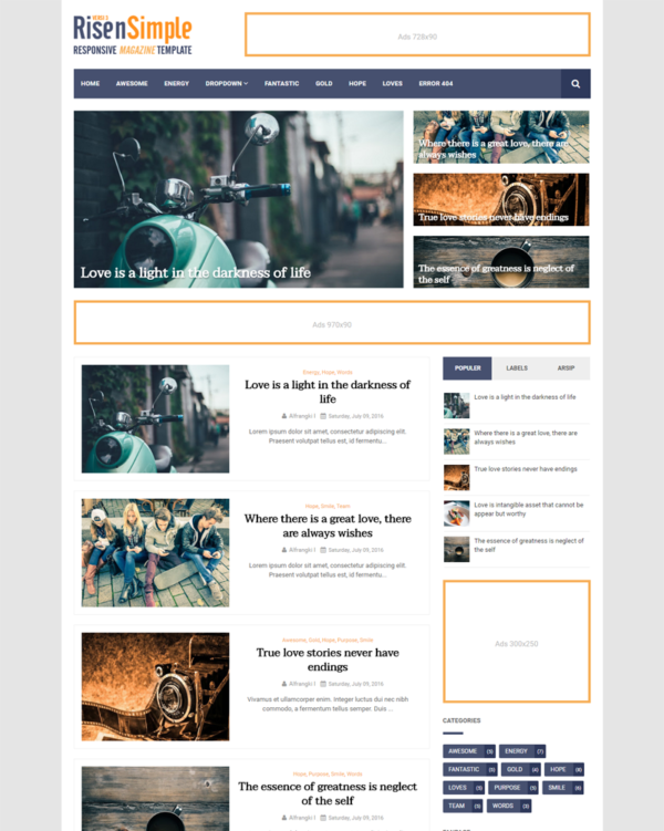 Risen Simple Premium Blogger Template